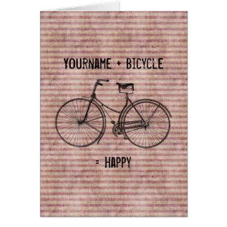 Você mais a bicicleta iguala o rosa antigo feliz d cartão