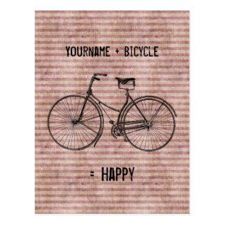 Você mais a bicicleta iguala o rosa antigo feliz d cartão postal
