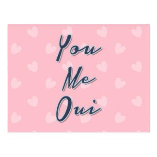 Você mim Oui, citações do amor, teste padrão Cartão Postal