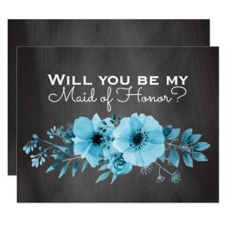 Você será meu azul da madrinha de casamento da convite 10.79 x 13.97cm