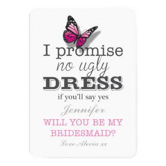 Você será meu cartão bonito da borboleta da dama convite 12.7 x 17.78cm