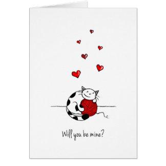 Você será meu? Cartão do dia dos namorados - gato