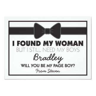 Você será meu laço preto/branco do menino da convite 11.30 x 15.87cm