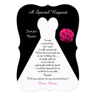 Você será meu vestido da madrinha de casamento com convite 12.7 x 17.78cm