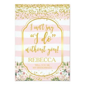 Você será meus rosa e ouro do cartão da dama de convite 12.7 x 17.78cm