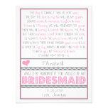 Você será minha dama de honra? Cartão cor-de-rosa/ Convite Personalizado