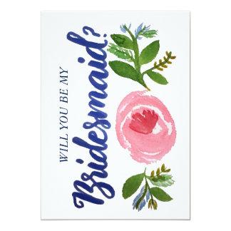 Você será minha dama de honra? Cartão floral e