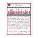 Você será minha dama de honra? Cartão vermelho/pre Convites Personalizado