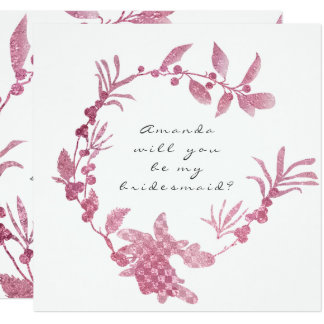Você será minha grinalda da framboesa do rosa da convite quadrado 13.35 x 13.35cm