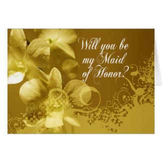 Você será minha madrinha de casamento? Orquídeas e Cartão Comemorativo