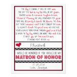 Você será minha matrona da honra? Poema vermelho/p Convite Personalizados