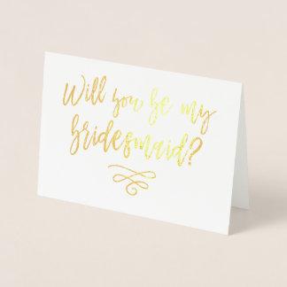 Você será minha tipografia da dama de honra cartão metalizado