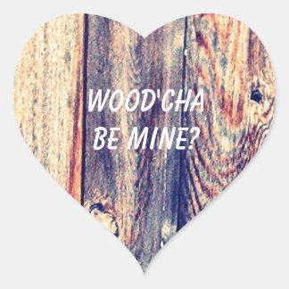 Você seria a etiqueta   Wood'Cha do coração da