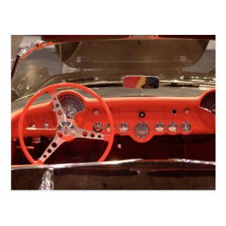 Volante 1956 e traço de Chevrolet Corvette Cartão Postal