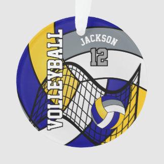 Voleibol azul, amarelo e cinzento ornamento