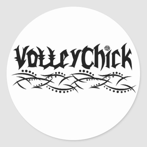 Voleibol de VolleyChick farpado Adesivo Em Formato Redondo