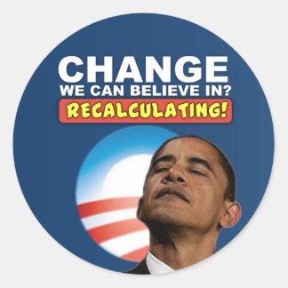 Voltar a calcular - anti Obama Adesivo Em Formato Redondo