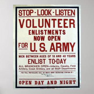 Voluntário - exército dos EUA Poster