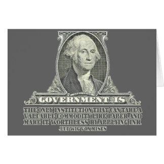 Von Mises no papel moeda Cartão Comemorativo