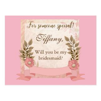 Vontade floral cor-de-rosa você seja minha dama de cartão postal