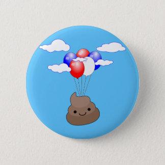 Vôo de Poo Emoji com os balões no céu azul Bóton Redondo 5.08cm