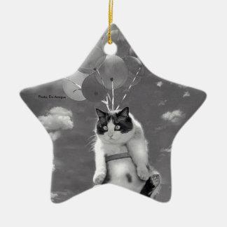 Vôo do gato com balões: ornamento estrela-dado