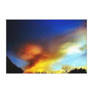 Vôo Eagle na lona da parede do por do sol Impressão De Canvas Esticada