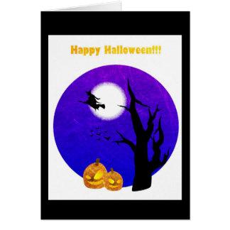 Vôo feliz da bruxa do Dia das Bruxas pelo cartão