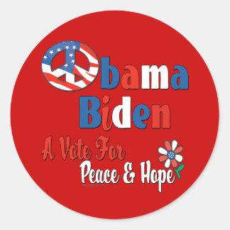 Voto de Obama Biden para a paz e o amor Adesivo Redondo