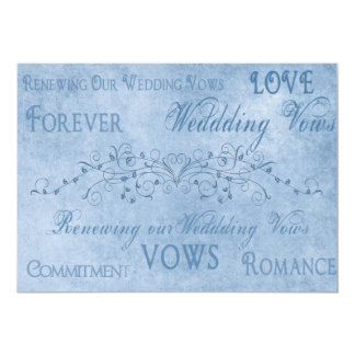 Votos de casamento da renovação - texturas azuis convite 12.7 x 17.78cm