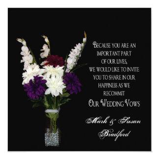 Votos de casamento de renovação - arranjo de flor convite quadrado 13.35 x 13.35cm