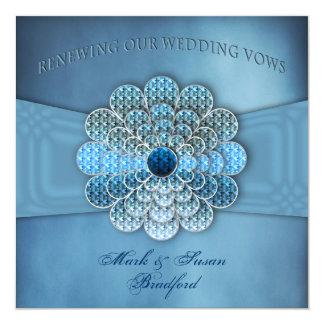 Votos de casamento de renovação - convite - azul