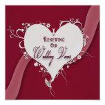Votos de casamento de renovação - coração convites personalizados