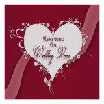 Votos de casamento de renovação - coração floral/f convites personalizados