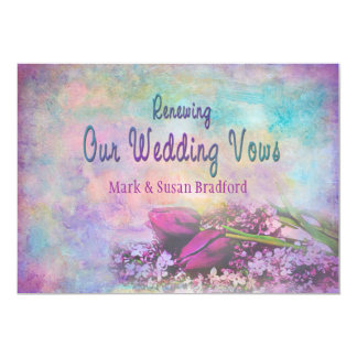 Votos de casamento de renovação - elegância floral convite 12.7 x 17.78cm