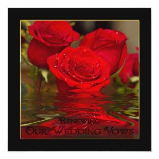Votos de casamento de renovação - os rosas convite quadrado 13.35 x 13.35cm