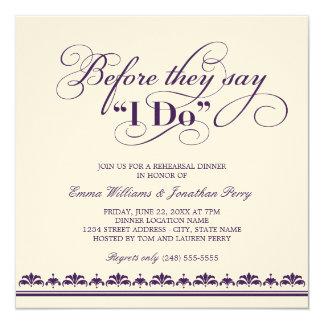 Votos de casamento do convite | do jantar de