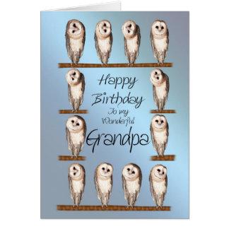 Vovô, cartão de aniversário curioso das corujas