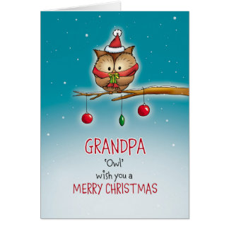 Vovô, desejo da coruja você Feliz Natal Cartão Comemorativo