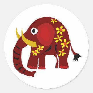 VW arte do primitivo do elefante e das margaridas Adesivo