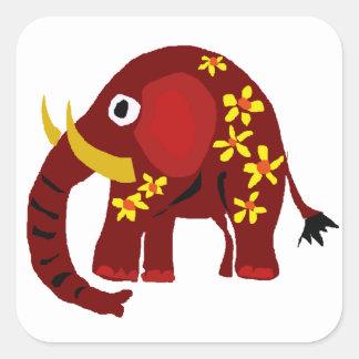 VW arte do primitivo do elefante e das margaridas Adesivo Quadrado
