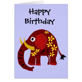 VW arte do primitivo do elefante e das margaridas Cartão Comemorativo