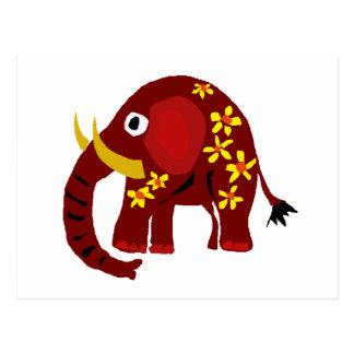 VW arte do primitivo do elefante e das margaridas Cartão Postal
