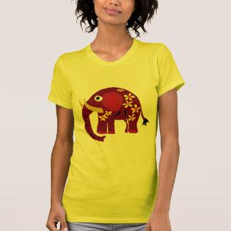 VW arte do primitivo do elefante e das margaridas Tshirt