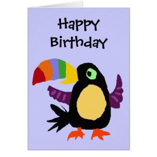 VW arte engraçada do primitivo do pássaro de Touca Cartão Comemorativo