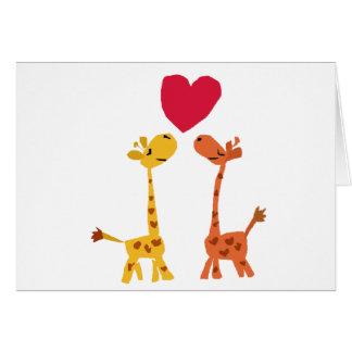 VW desenhos animados engraçados do amor do girafa Cartões