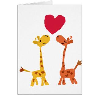 VW desenhos animados engraçados do amor do girafa Cartão Comemorativo
