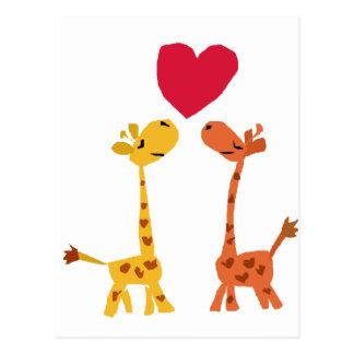 VW desenhos animados engraçados do amor do girafa Cartão Postal