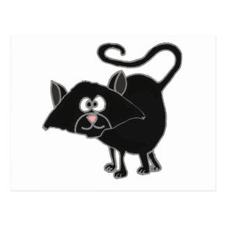 VW desenhos animados engraçados do gato preto Cartão Postal