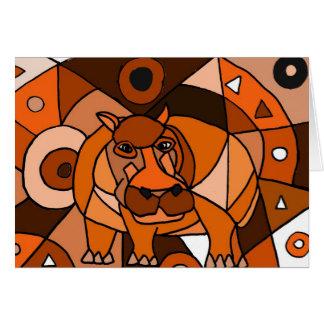 VW design da arte abstracta do hipopótamo Cartão Comemorativo